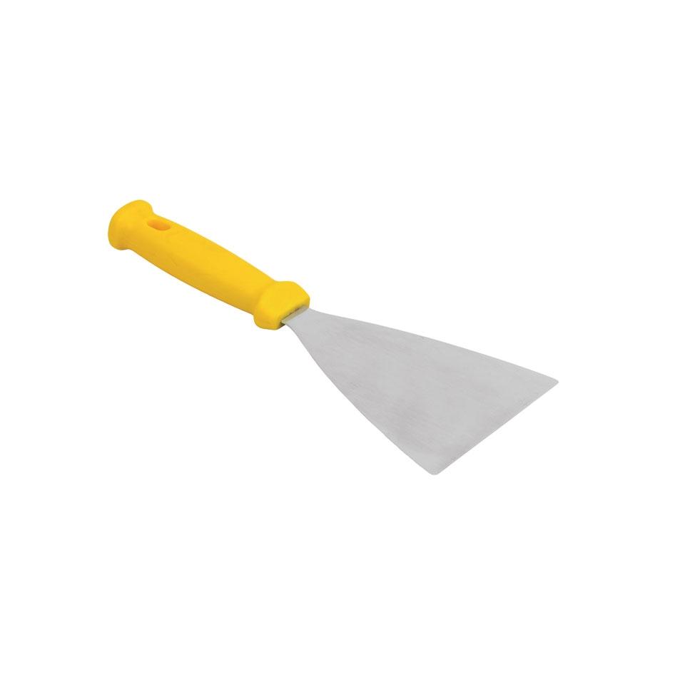 Spatola triangolare flessibile in acciaio inox e manico in polipropilene giallo