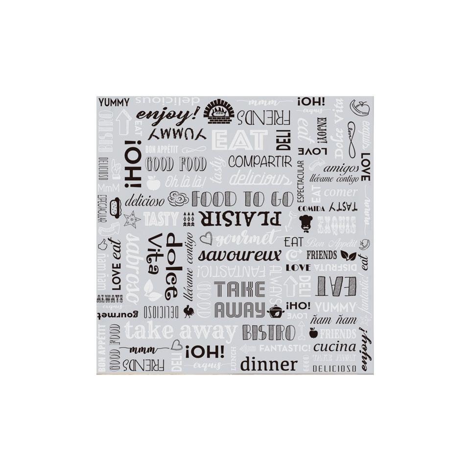 Fogli da imballaggio in carta argento con decoro Parole cm 31x31