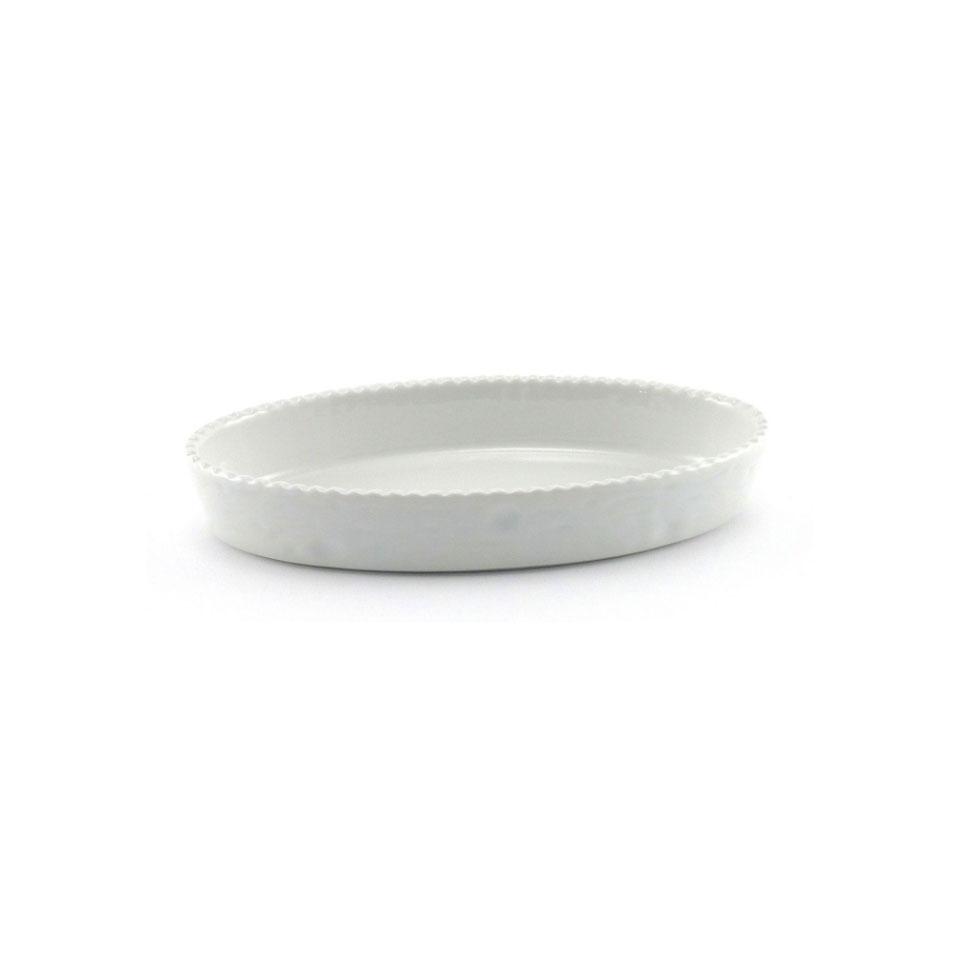 Pirofila ovale Cordonata in porcellana bianca cm 32x18x4,5