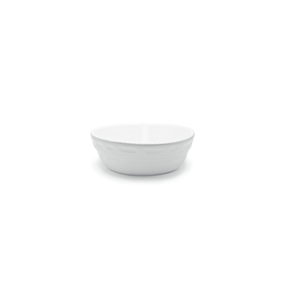 Pirofila Bolo rotonda Cordonata Impilabile in porcellana bianca cm 28x10