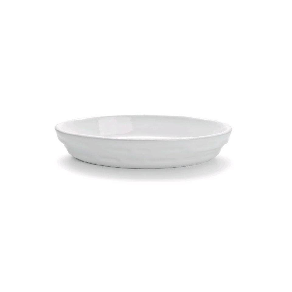 Pirofila ovale Cordonata Impilabile in porcellana bianca cm 28x17x4,5