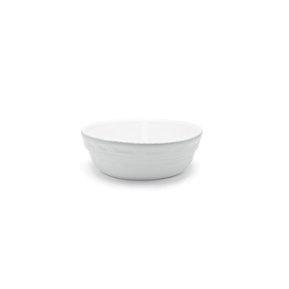 Pirofila Bolo rotonda Cordonata Impilabile in porcellana bianca cm 32x10