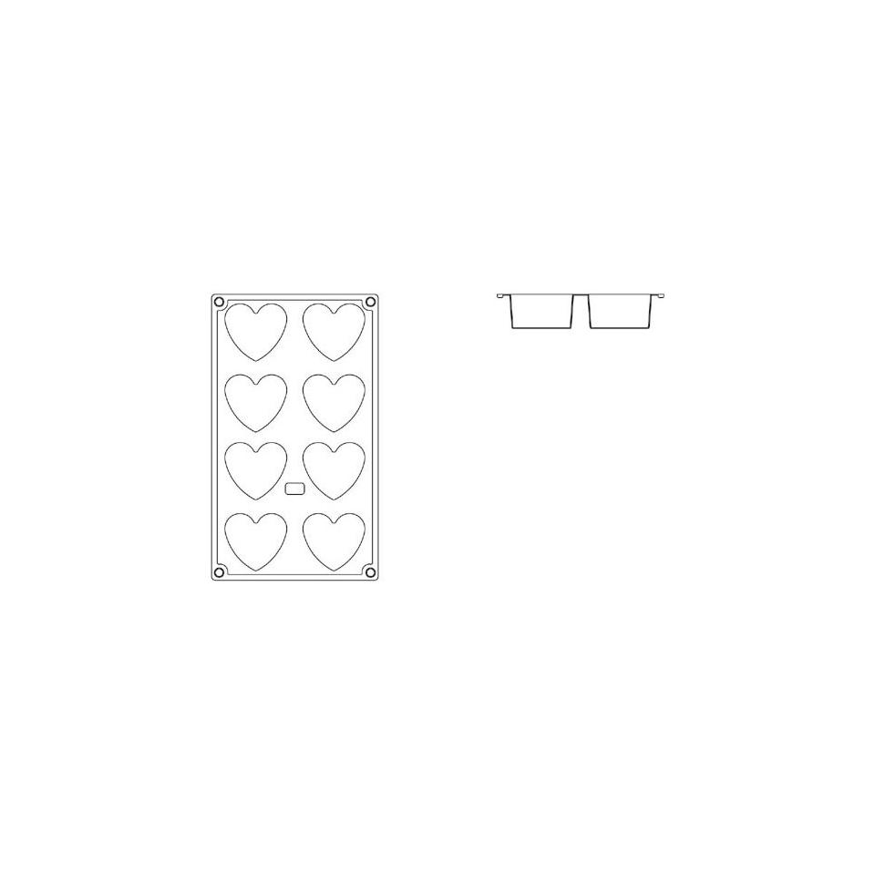 Stampo in silicone a forma di cuore 8 impronte
