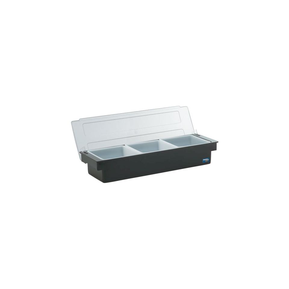Porta condimenti 3 vaschette policarbonato 49x15x9cm nero