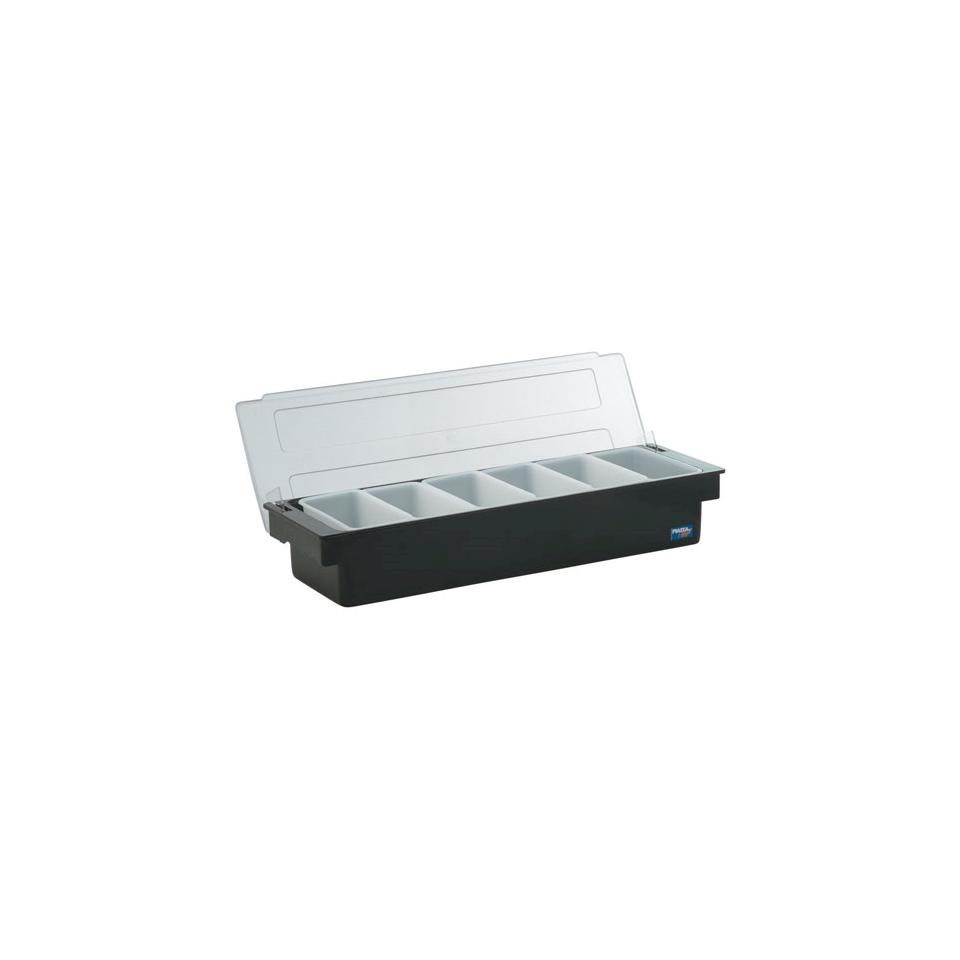 Porta condimenti 6 vaschette policarbonato 49x15x9cm nero