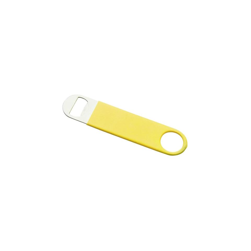 Apribottiglie piatto gommato giallo