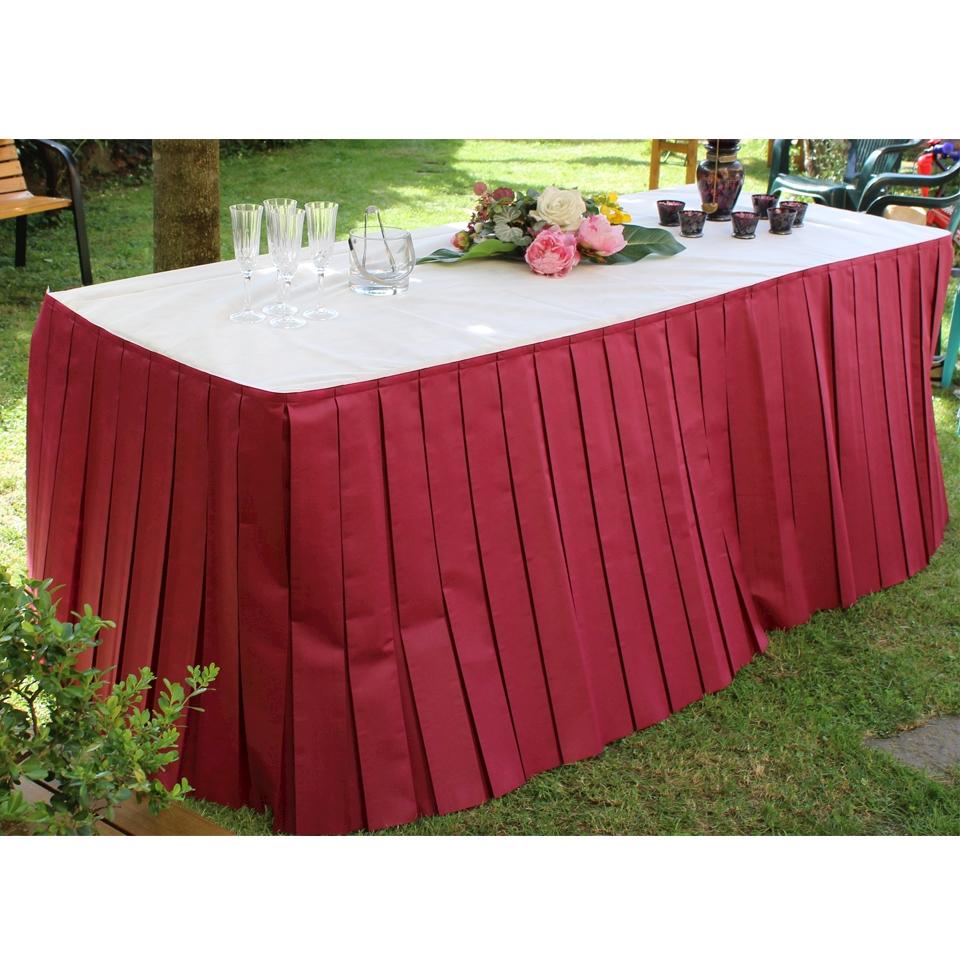 Gonne plissè per tavolo buffet TNT avorio 4 mt